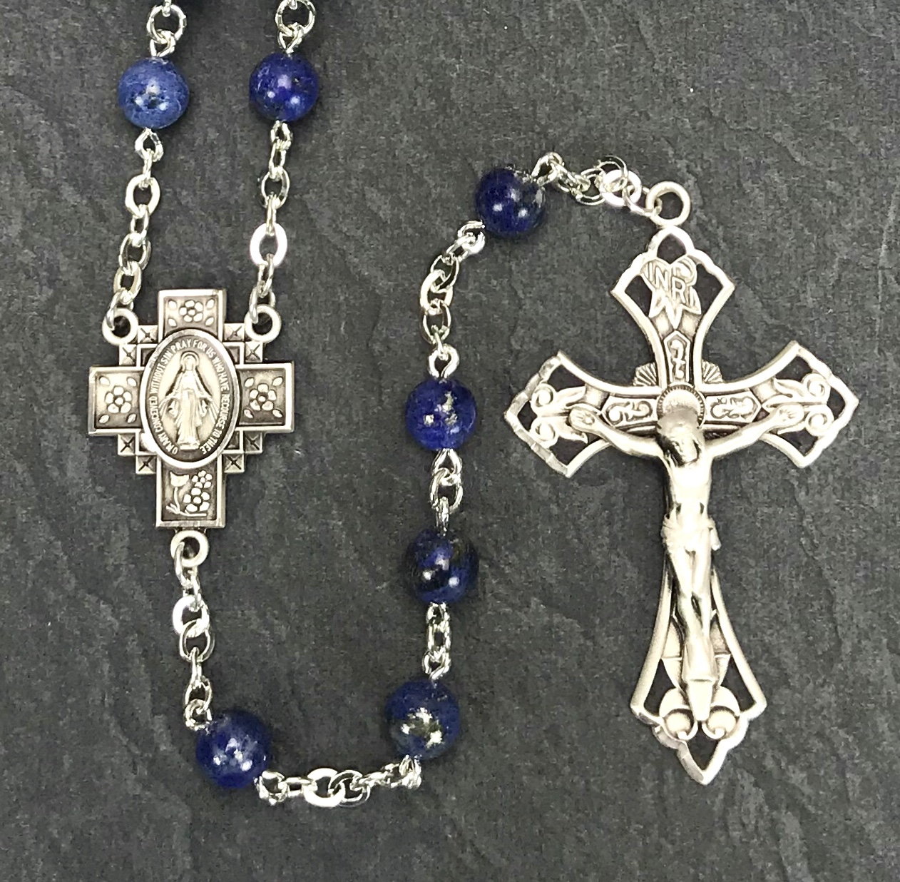 6mm ROUND LAPIS GEMSTONE ALL STERLING SILVER EXCELSIOR ROSARY