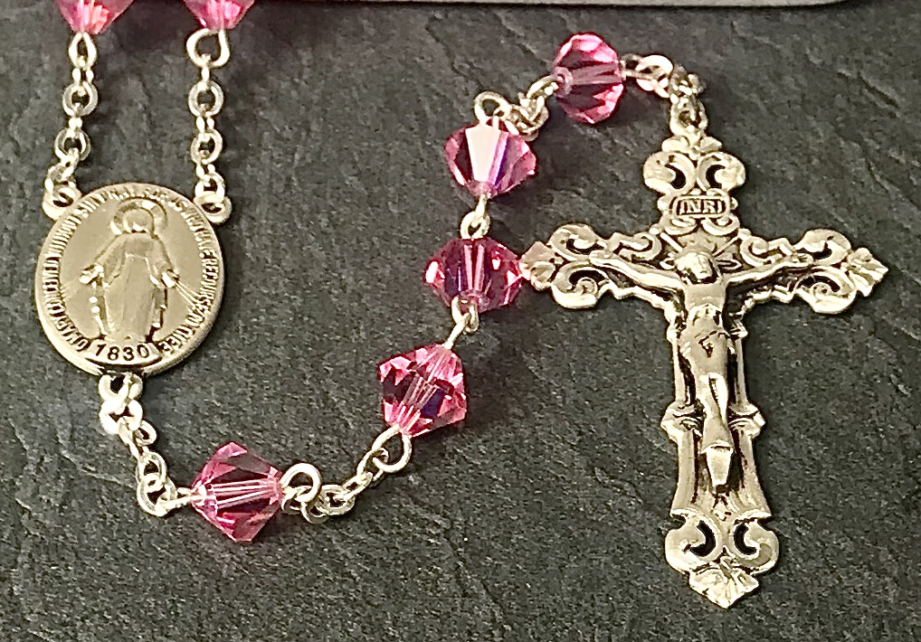 8mm RONDELLE SWAROVSKI ROSE AB  ALL STERLING SILVER EXCELSIOR ROSARY WITH STERLING SILVER WIRE, CHAIN, CROSS, & CENTER