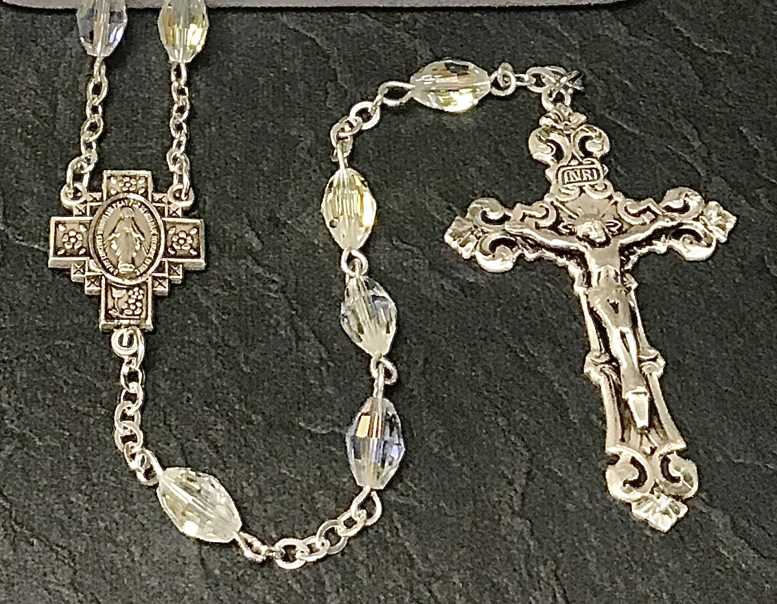 9x6mm OVAL SWAROVSKI CRYSTAL AB ALL STERLING SILVER EXCELSIOR ROSARY WITH STERLING SILVER WIRE, CHAIN, CROSS, & CENTER