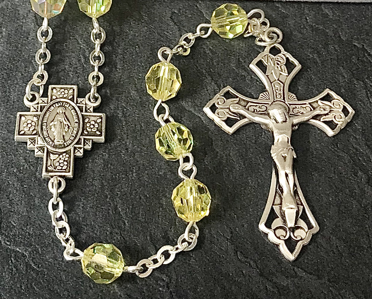 7mm JONQUILLE AB SWAROVSKI  ALL STERLING EXCELSIOR ROSARY WITH STERLING SILVER WIRE, CHAIN, CROSS, & CENTER