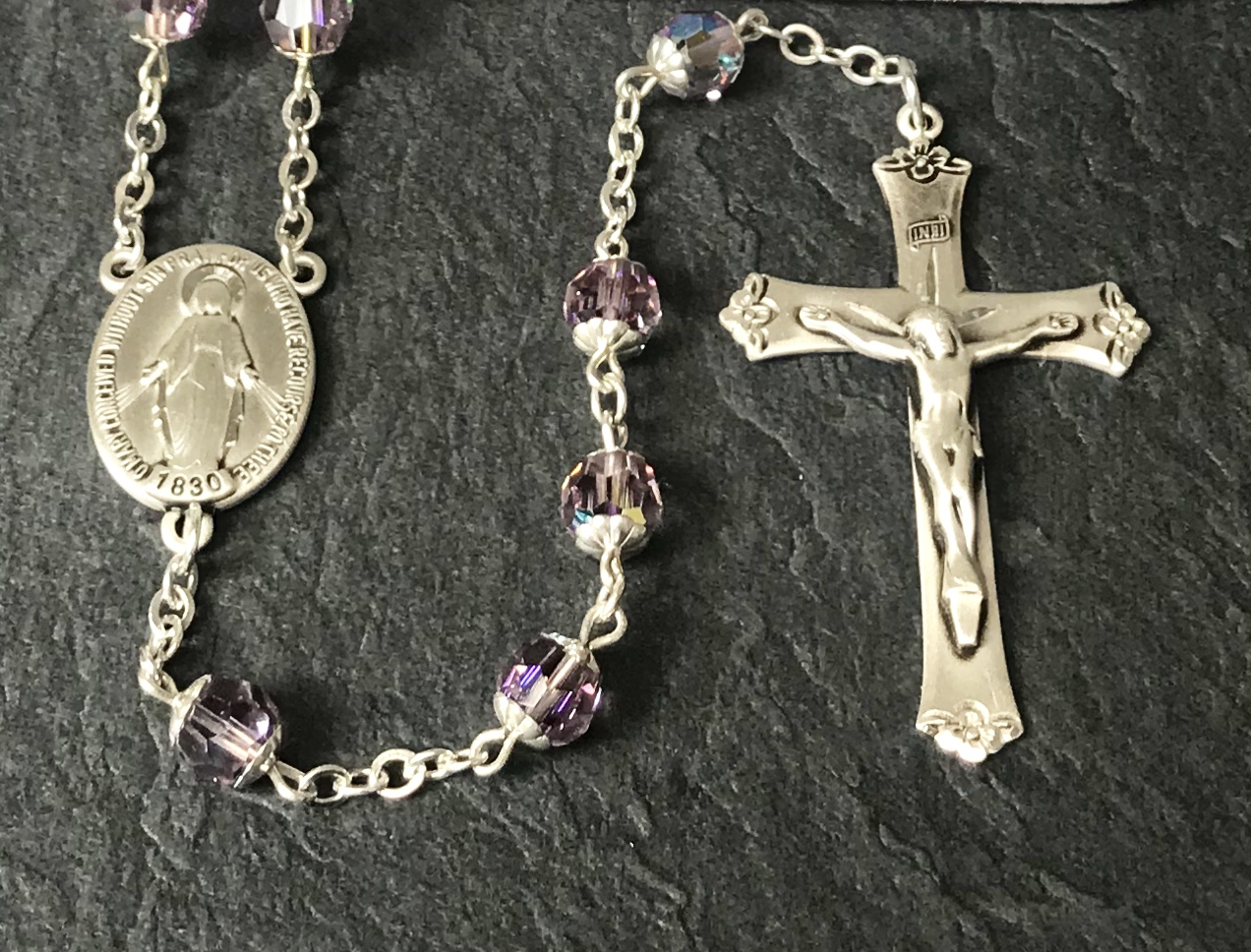 7mm ROUND AMETHYST AB SWAROVSKI DOUBLE CAPPED ALL STERLING ROSARY WITH STERLING SILVER WIRE, CHAIN, CROSS, & CENTER