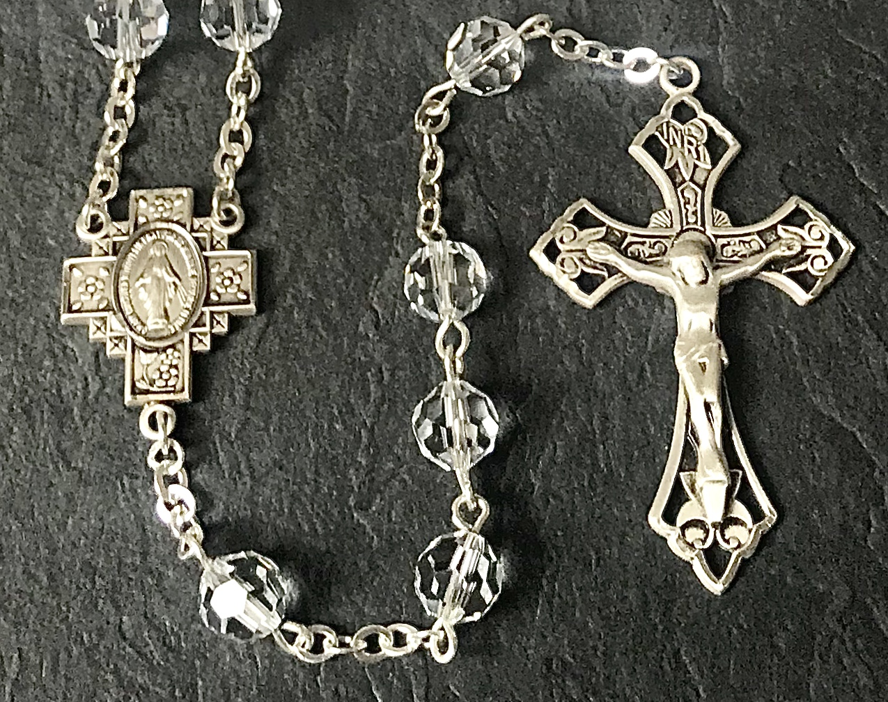 7mm ROUND SWAROVSKI CRYSTAL ALL STERLING EXCELSIOR ROSARY WITH STERLING SILVER WIRE, CHAIN, CROSS, & CENTER