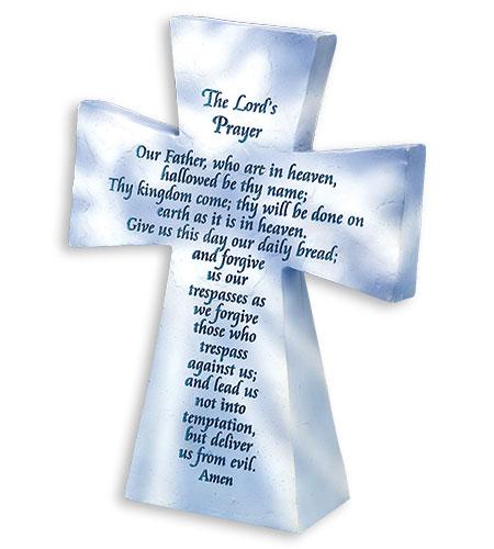 5in RESIN TABLETOP LORDS PRAYER CROSS