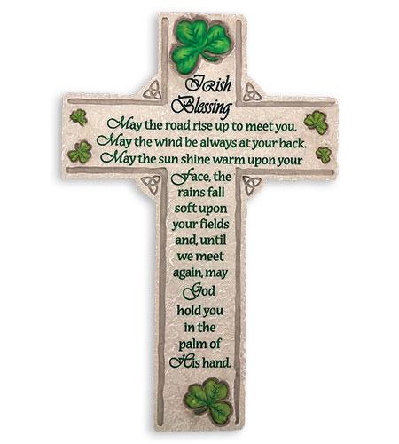10in RESIN IRISH BLESSING CROSS WITH SHAMROCKS