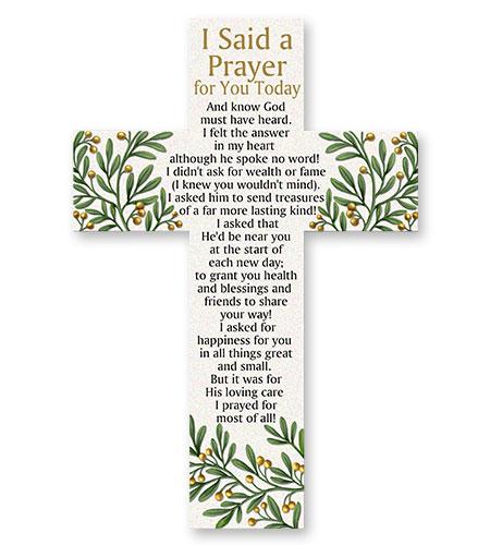 10in RESIN I SAID A PRAYER CROSS