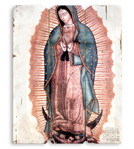 OUR LADY OF GUADALUPE WOODEN PLAQUE
