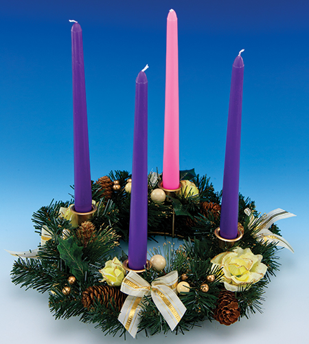 11in Advent Wreath With Champagne Ribbons