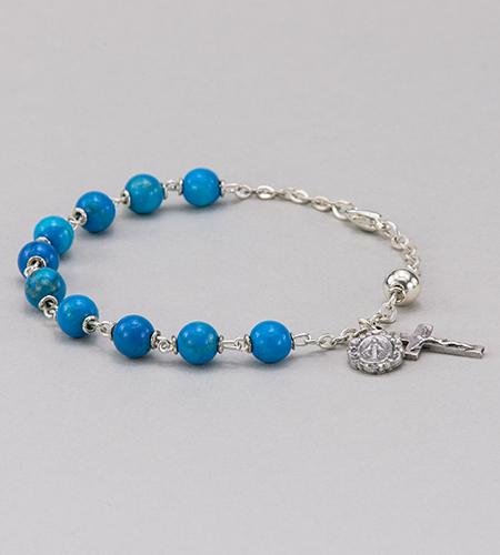 6 mm Round Gemstone Turquoise Rosary Bracelet