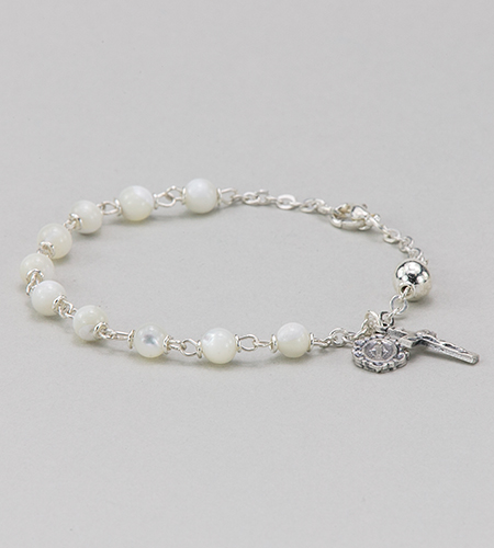 6 mm Round Gemstone Mother of Pearl Rosary Bracelet