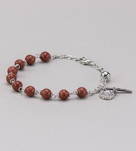 6 mm Round Gemstone Goldstone Rosary Bracelet