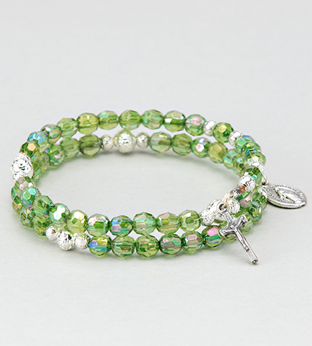 6 mm Emerald Rosary Spring Bracelet