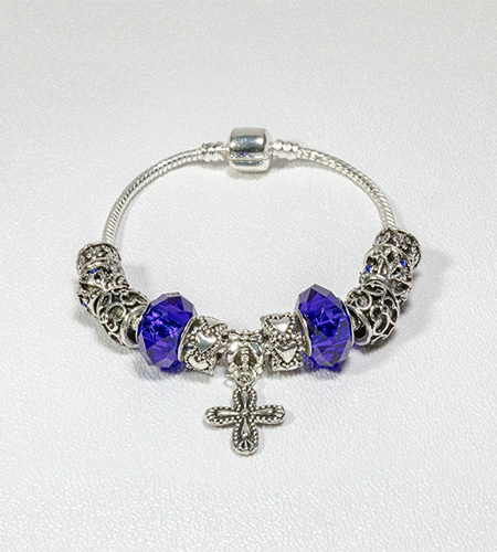SILVER BEADS WITH SAPPHIRE ROSARY BRACLET