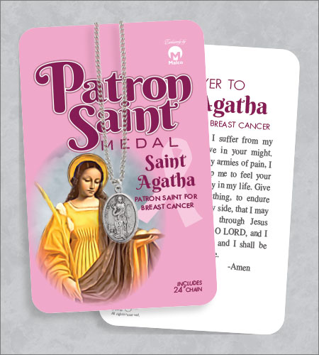 St Agatha Medal & 24in Chain With Prayer Card