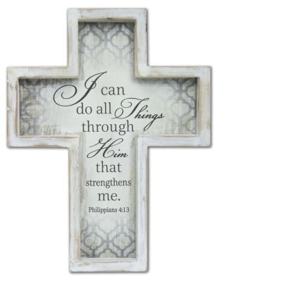 8.5 X 11in I Can Do All Things Framed Cross with Hanger Boxed