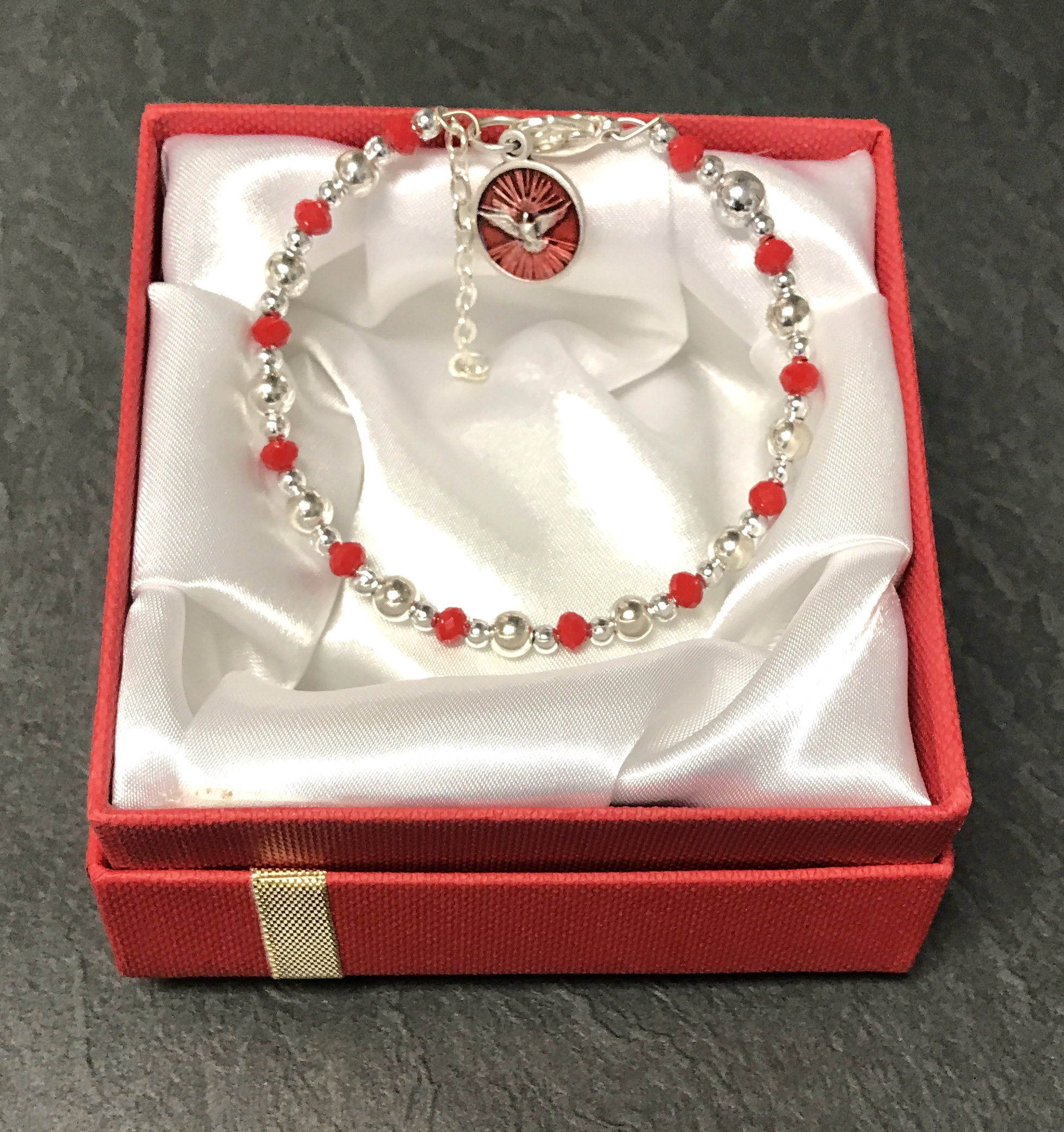 RUBY & SILVER CONFIRMATION BRACELET GIFT BOXED
