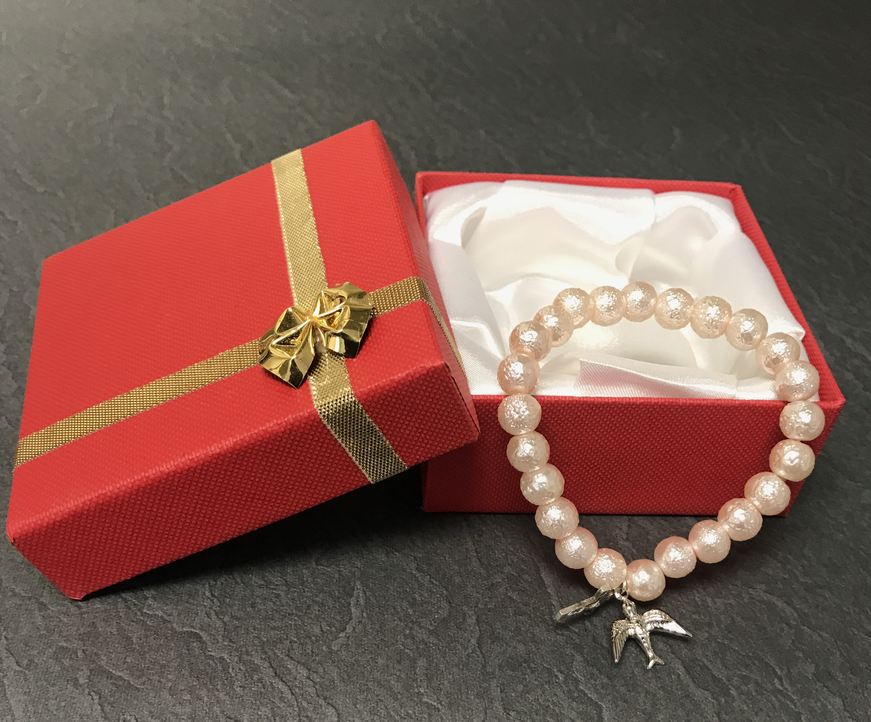 PINK PEARL CONFIRMATION BRACELET GIFT BOXED