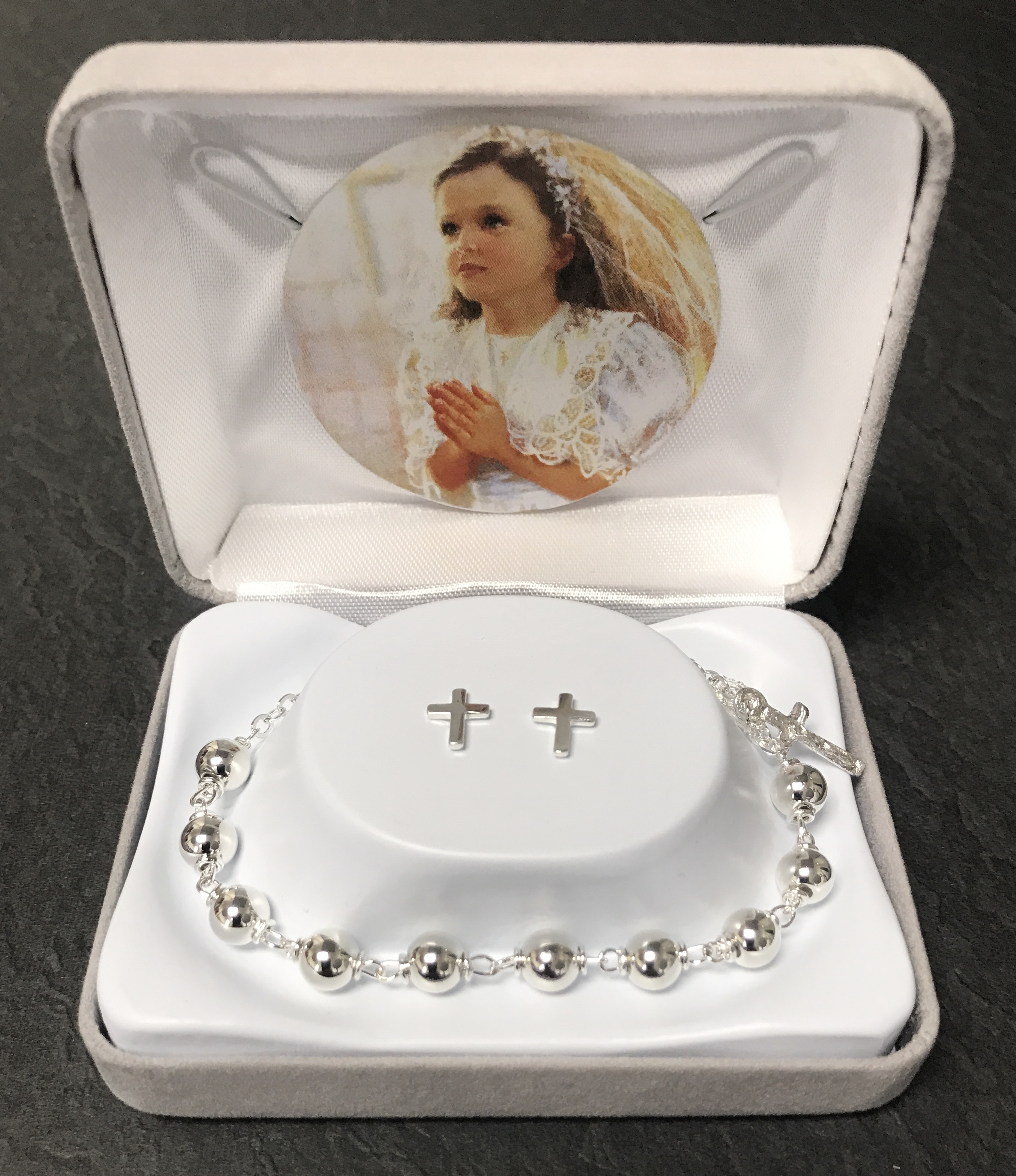 6mm SILVER FC BRACELET WITH EARRINGS GIFT BOXED
