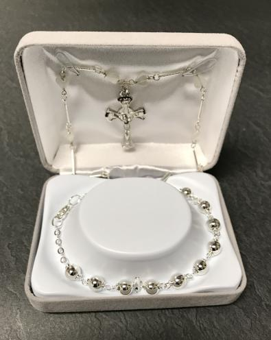 6mm SILVER FC BRACELET WITH  NECKLACE GIFT BOXED