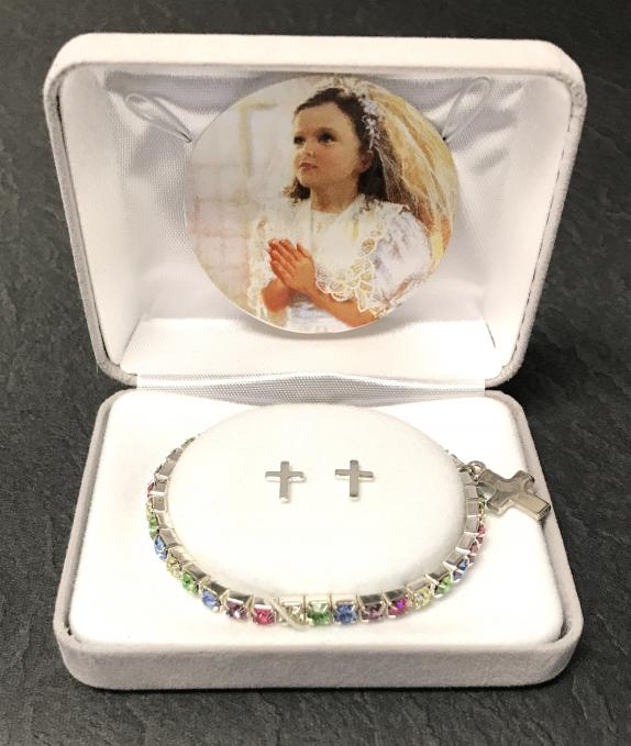 MULTI COLOR CRYSTAL FC BRACELET WITH EARRINGS GIFT BOXED