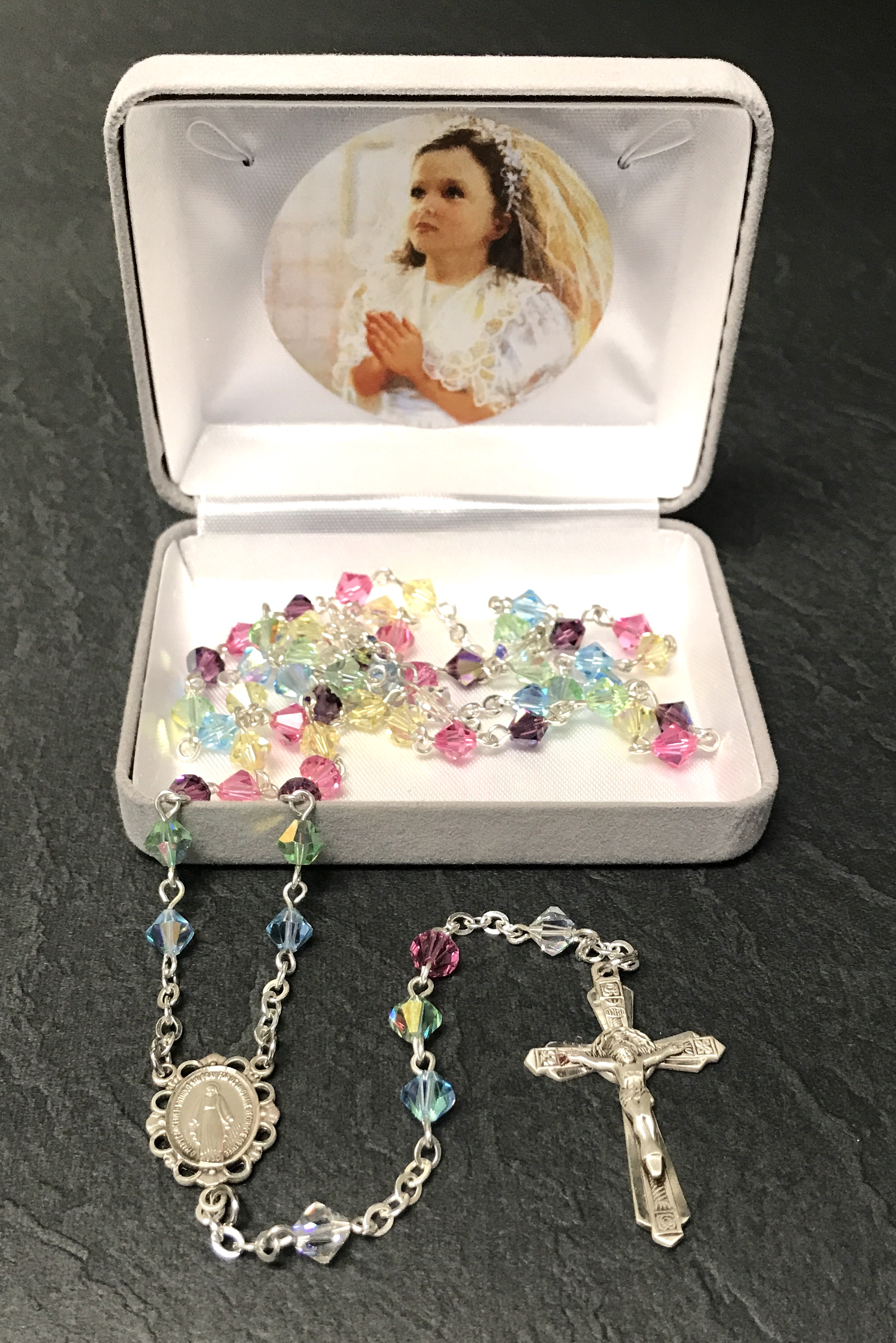 6mm RONDELLE MULTICOLOR  AB SWAROVSKI ALL STERLING SILVER ROSARY GIFT BOXED