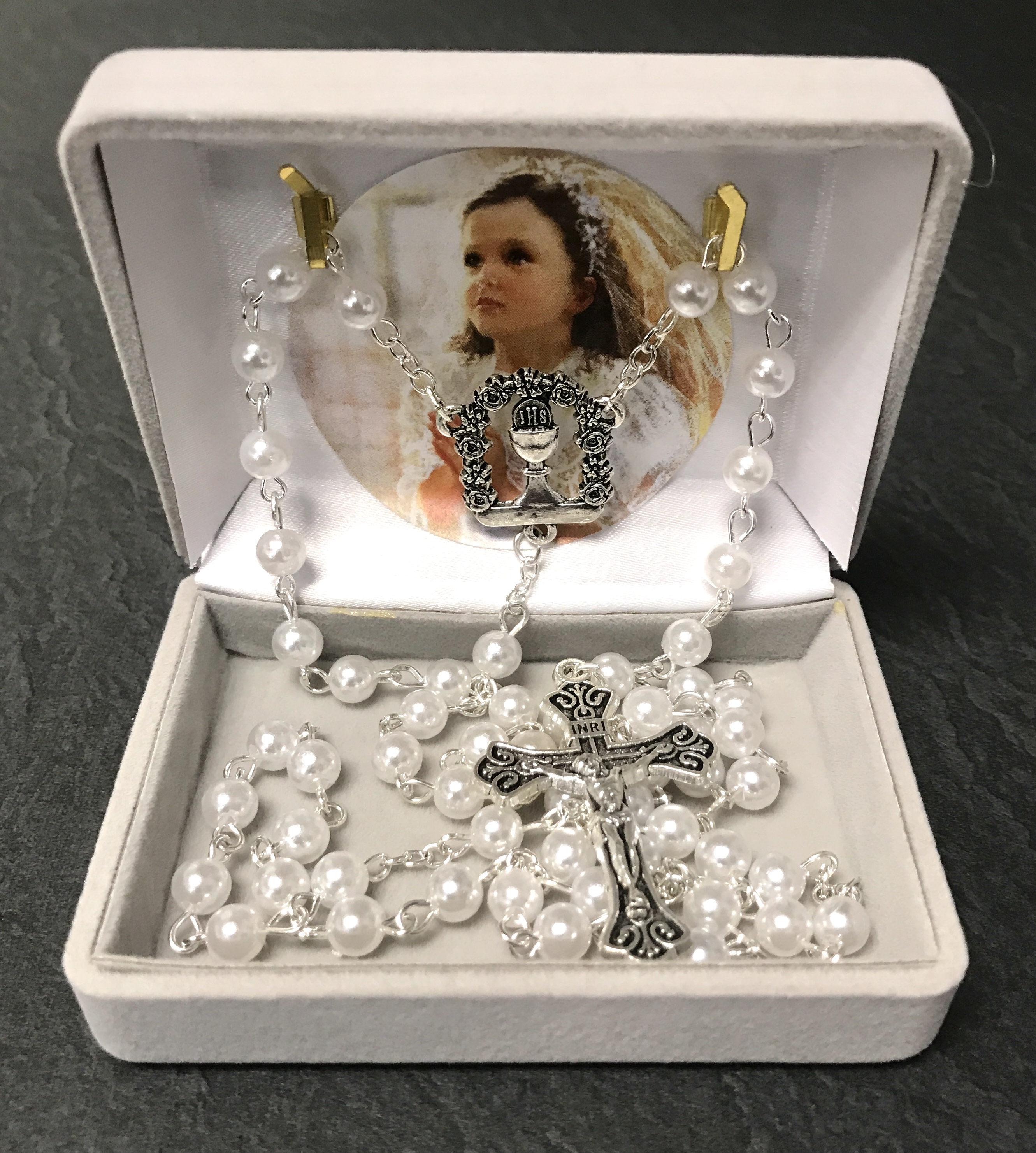 PEARL FIRST COMMUNION ROSARY WITH CHALICE CENTER GIFT BOXED