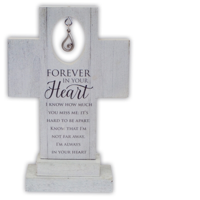 Forever In Your Heart 6in Standing Cross with Tear Charm Gift Boxed