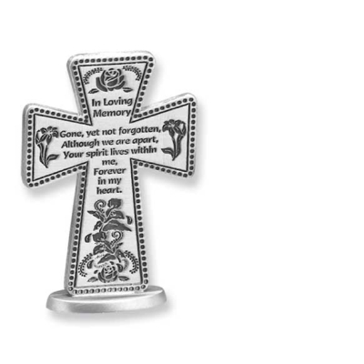In Loving Memory 3in Standing Message Cross Gift Boxed