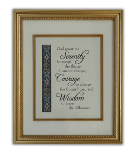 Serenity Prayer Wall Plaque In Gold Frame Boxed
