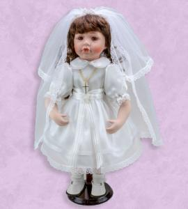 16in PORCELAIN FIRST COMMUNION DOLL BRUNETTE