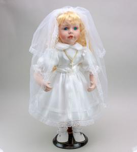 16in PORCELAIN FIRST COMMUNION DOLL BLONDE