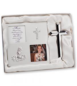 2pc Silver First Communion Frame/Cross Girl Gift Set