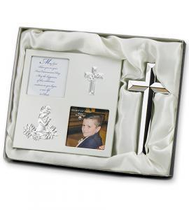 2pc Silver First Communion Frame/Cross Boy Gift Set