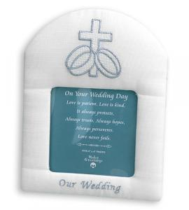 8 in x 6 in Satin Moire Wedding Picture Frame