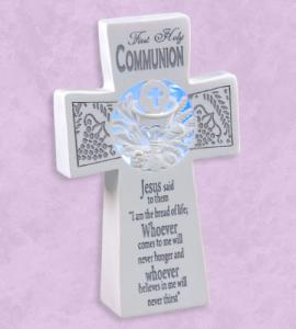 7in RESIN FIRST COMMUNION CROSS WITH LIGHT