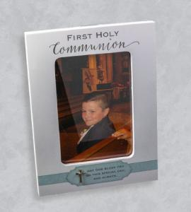 5X7 WOOD BOY FIRST COMMUNION FRAME WITH BLUE RIBBON & CROSS-HOLDS 4X6 PHOTO