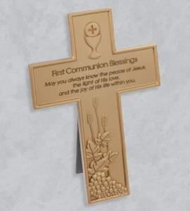 8.5 in GOLD RESIN FIRST COMMUNION CROSS