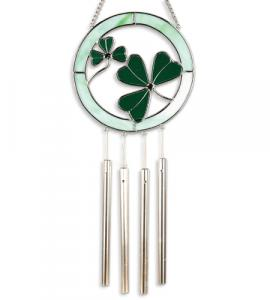 6 in Glass Shamrock Windchime