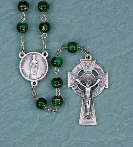 8 mm Irish Emerald/Gold Swirl Rosary