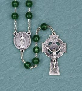8 mm Irish Emerald Glass Rosary