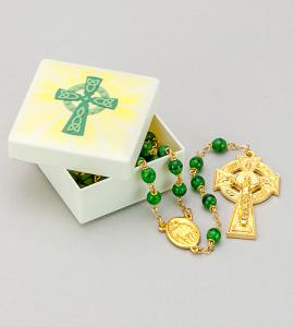 CELTIC CROSS MOLDED BOX WITH ROSARY