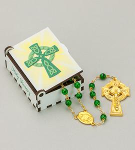 CELTIC CROSS WOOD BOX WITH ROSARY