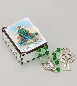 ST. PATRICK WOOD BOX WITH ROSARY