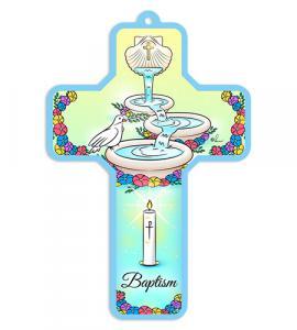 5in WOOD BAPTISMAL CROSS