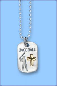 PEWTER CATCH THE SPIRIT DOGTAG WITH GOLD CROSS BASEBALL