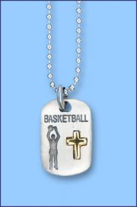 PEWTER CATCH THE SPIRIT DOGTAG WITH GOLD CROSS BASKETBALL