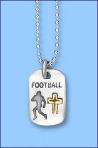 PEWTER CATCH THE SPIRIT DOGTAG WITH GOLD CROSS FOOTBALL
