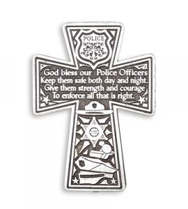 PEWTER CROSS WITH POLICE PRAYER AUTO VISOR CLIP