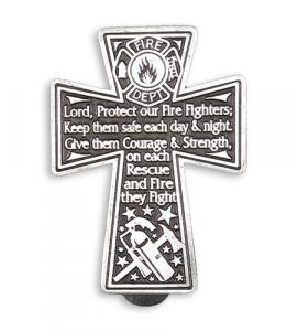 PEWTER CROSS WITH FIREMAN PRAYER AUTO VISOR CLIP