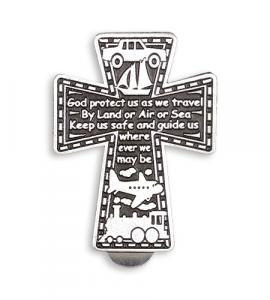 PEWTER CROSS WITH TRAVEL PRAYER AUTO VISOR CLIP
