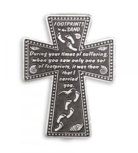 PEWTER CROSS WITH SERENITY PRAYER AUTO VISOR CLIP